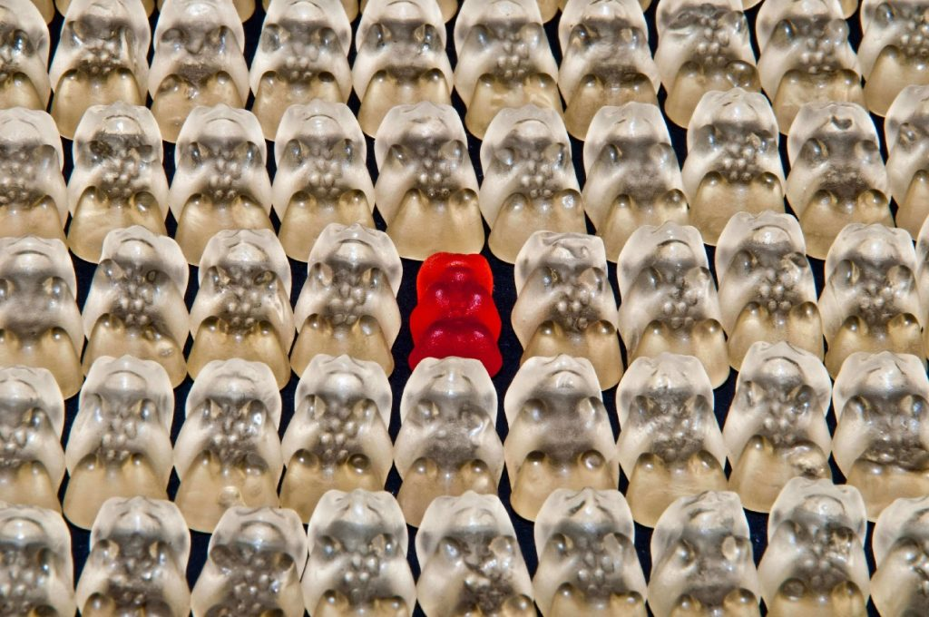 Gummy Bears Standing out from the crowd