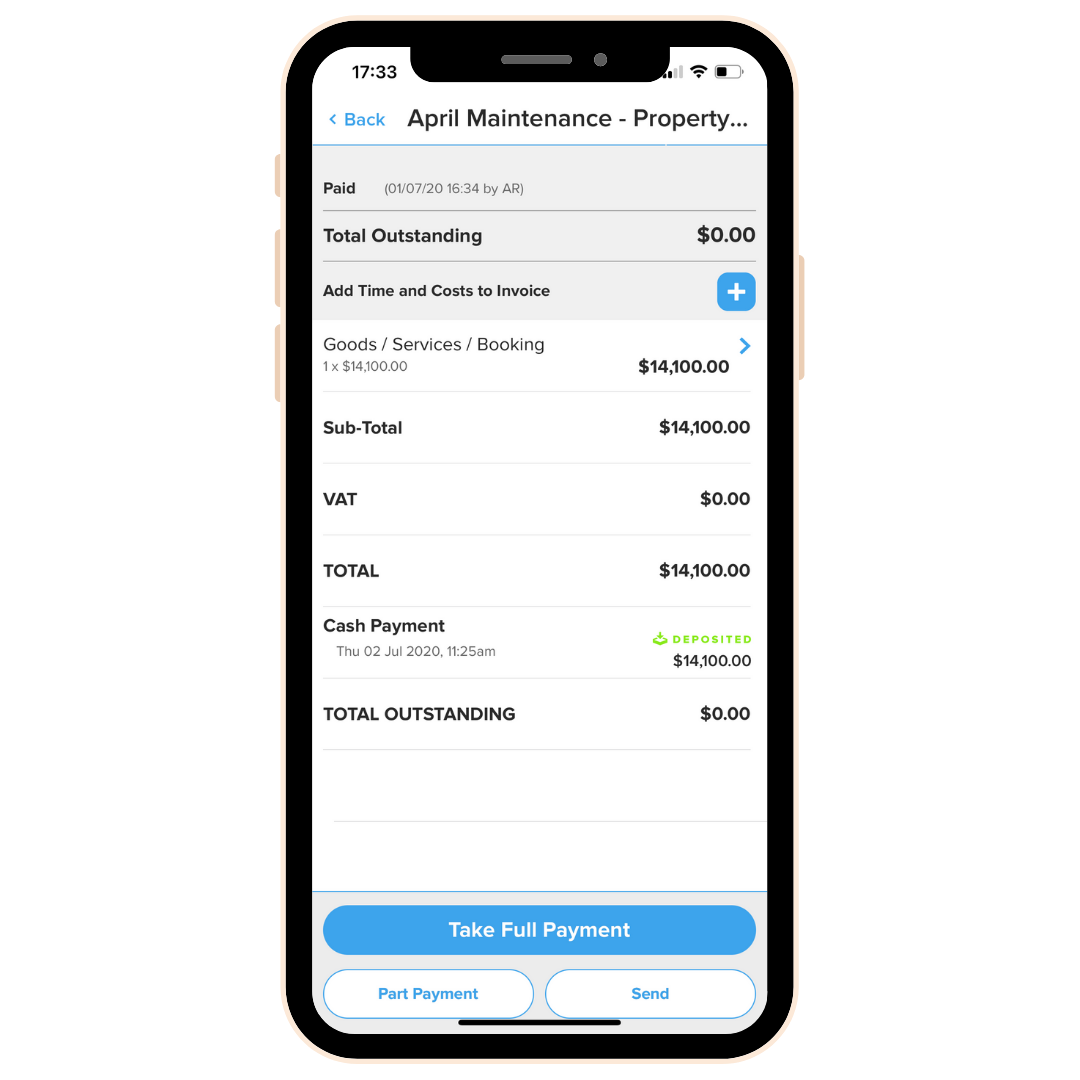 SimplyPayMe phone with invoice